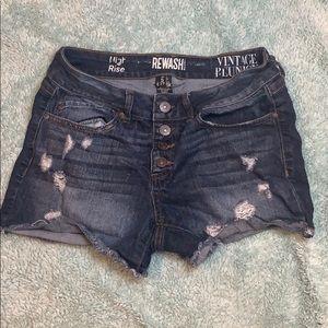 High Rise Stretch Rewash Distressed Denim Shorts 5